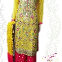 Yellow Chiffon Palazzo Mehndi Dress
