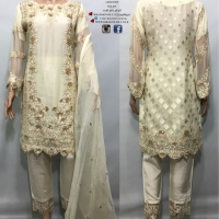 LUXURY EMBROIDERED CHIFFON 3PC SUIT (3 COLOURS)