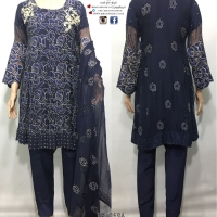 Chiffon Embroidered  Navy suit
