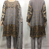 LUSH EMBROIDERED 3 PC CHIFFON SUIT