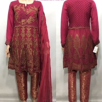 Luxury Peplum/Banarsi 3col Suit