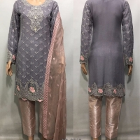Chiffon / Brocade Embroidered suit