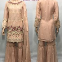 3 COLOURS CHIFFON SHARARA SUIT