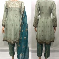 3 PC CHIFFON ELEGANT EMBROIDERED SUIT