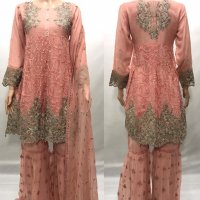 Chiffon Embroidered Peplum Sharara suits