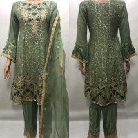 Stunning Mint Embroidered Chiffon suit