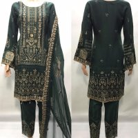CHIFFON K-EMBROIDERED 3 PC SUITS