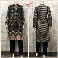 Cotton & Net sequence Embroidered 3 pc suit