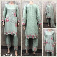 "Chiffon Embroidered 3 pc suits ""Swarski"""