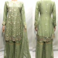Chiffon Embroidered Sharara suits