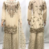 Off White Chiffon Sharara suit with sequence & Embroidery