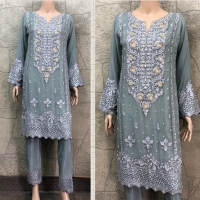 3 PC GREY CHIFFON EMBROIDERED SUIT K9216