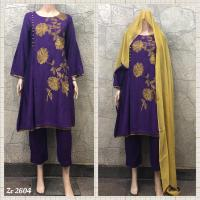 LINEN EMBROIDERED-PURPLE