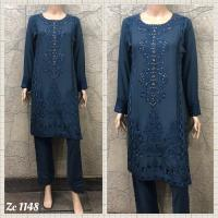 LINEN EMBROIDERED 3 PC SUIT