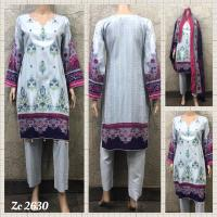 Linen Embroidered Shawl Suits